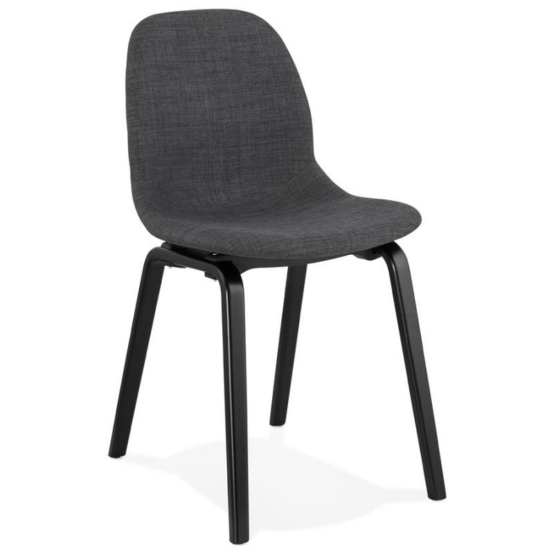 Chaise design et contemporaine en tissu pieds bois noir MARTINA (gris anthracite) - image 47936