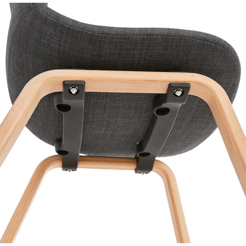 Chaise design et scandinave en tissu pied bois finition naturelle MARTINA (gris anthracite) - image 47959