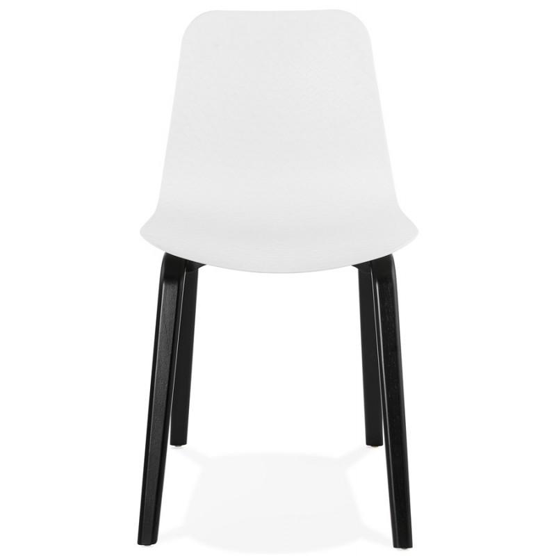 Sandy black wooden foot design chair (white) - image 47980