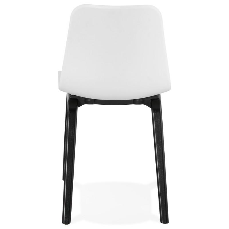 Chaise design pieds bois noir SANDY (blanc) - image 47983