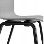 Sedia a piedi in legno nero sabbia (grigio chiaro)