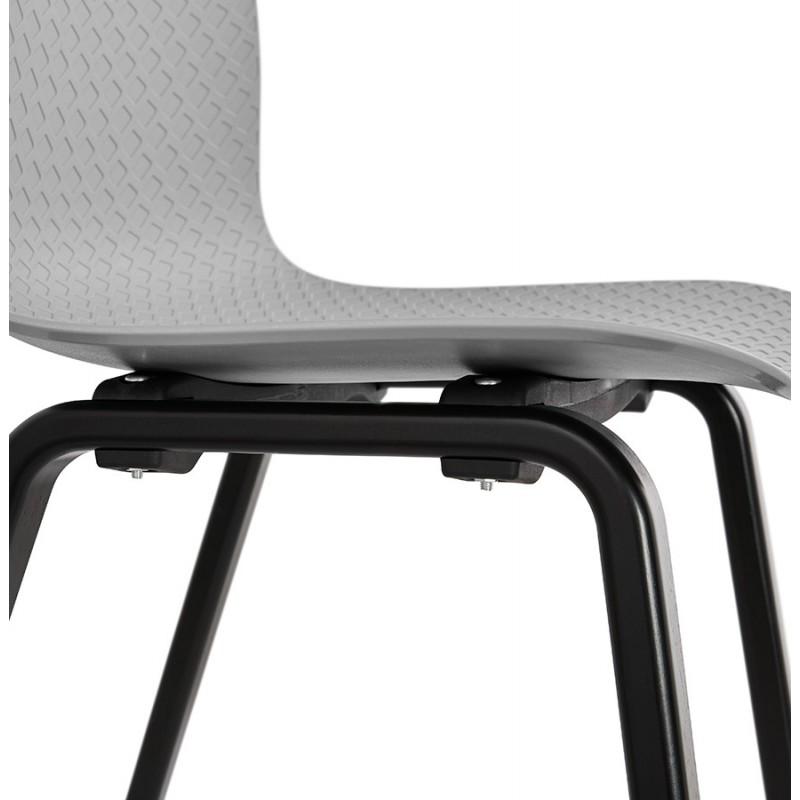 Chaise design pieds bois noir SANDY (gris clair) - image 48002