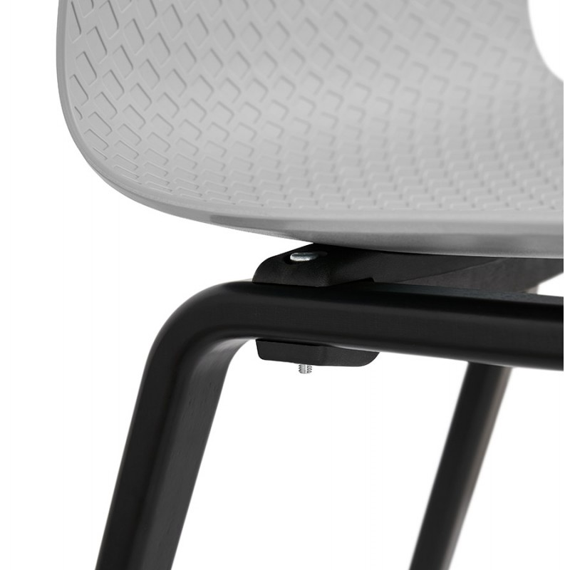 Chaise design pieds bois noir SANDY (gris clair) - image 48003
