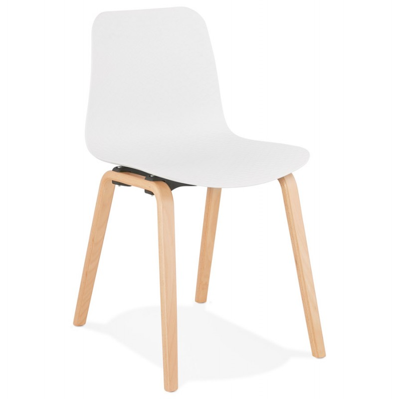 Sedia scandinava design piede in legno finitura naturale SANDY (bianco)