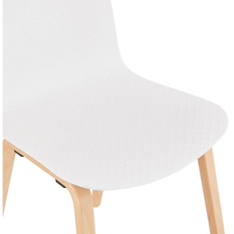 Chaise design scandinave pied bois finition naturelle SANDY (blanc) - image 48015