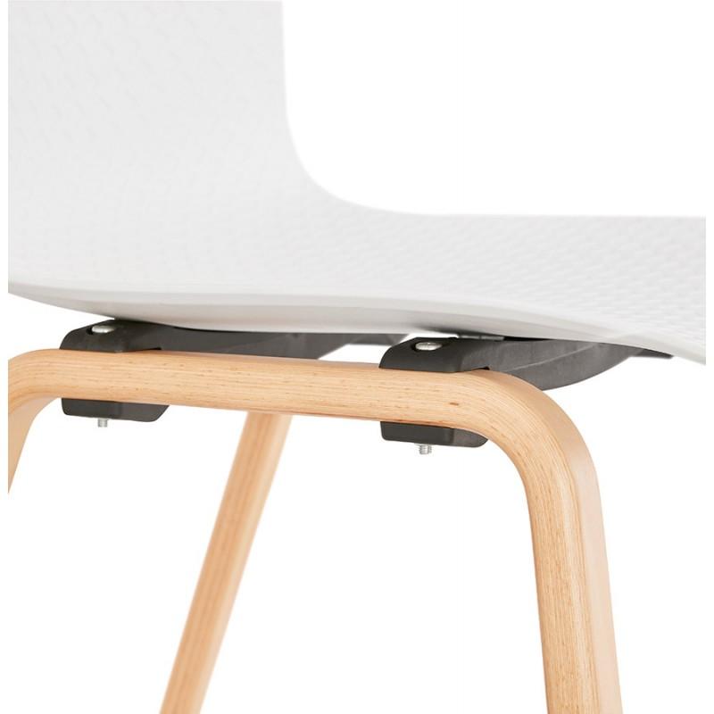 Chaise design scandinave pied bois finition naturelle SANDY (blanc) - image 48017