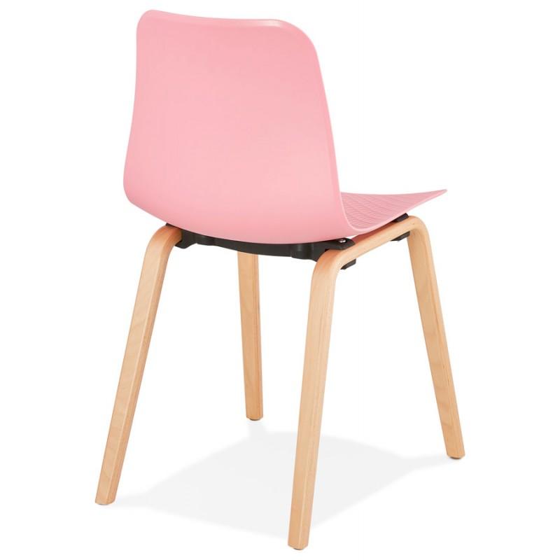 Chaise design scandinave pied bois finition naturelle SANDY (rose) - image 48026