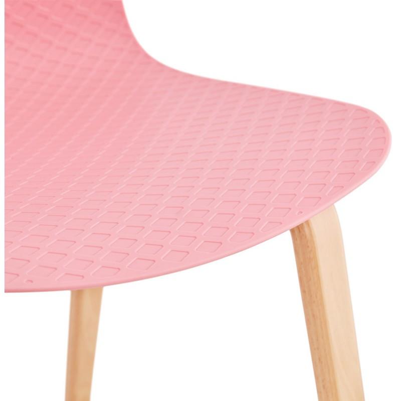 Chaise design scandinave pied bois finition naturelle SANDY (rose) - image 48030