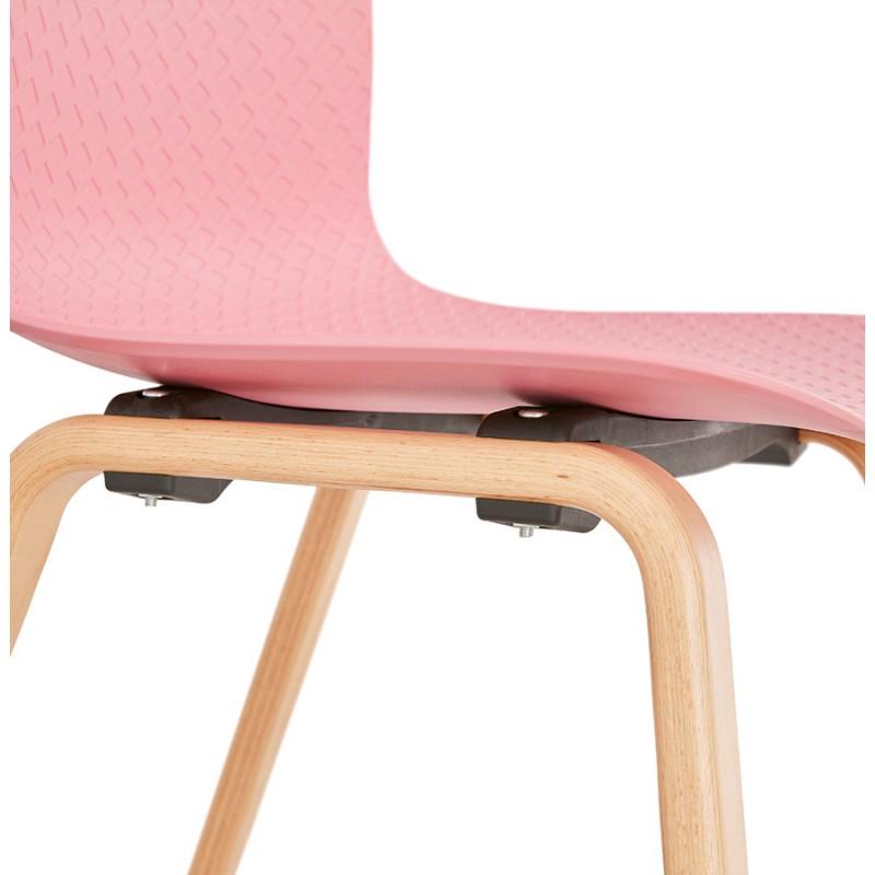 Chaise design scandinave pied bois finition naturelle SANDY (rose) - image 48031