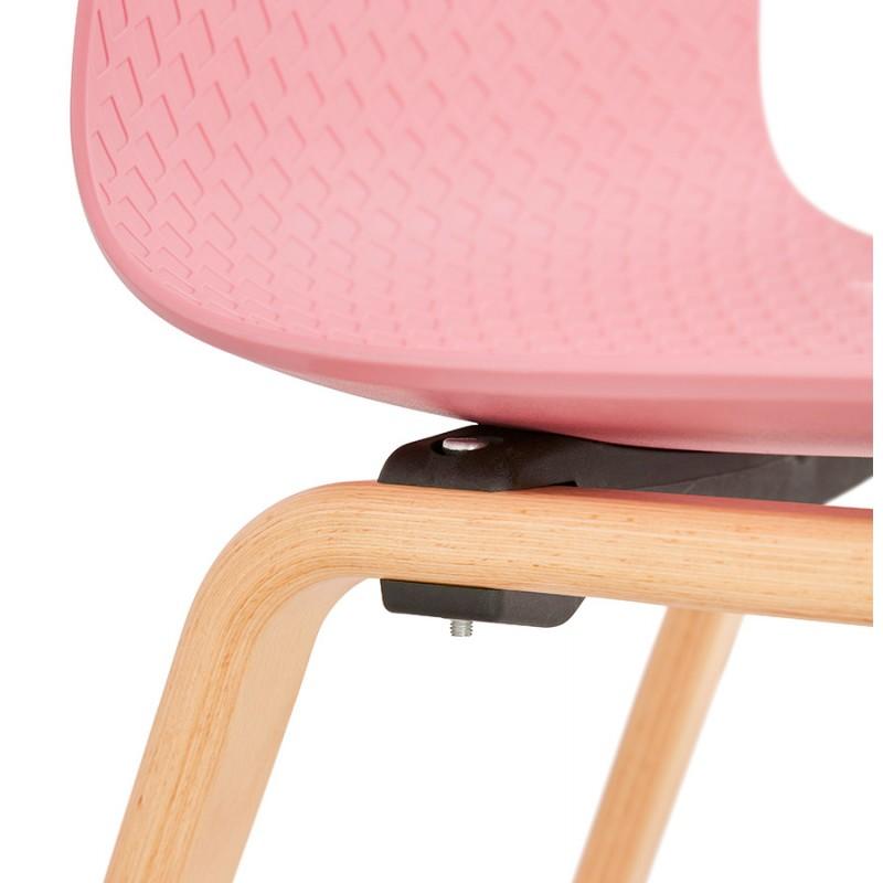 Chaise design scandinave pied bois finition naturelle SANDY (rose) - image 48032
