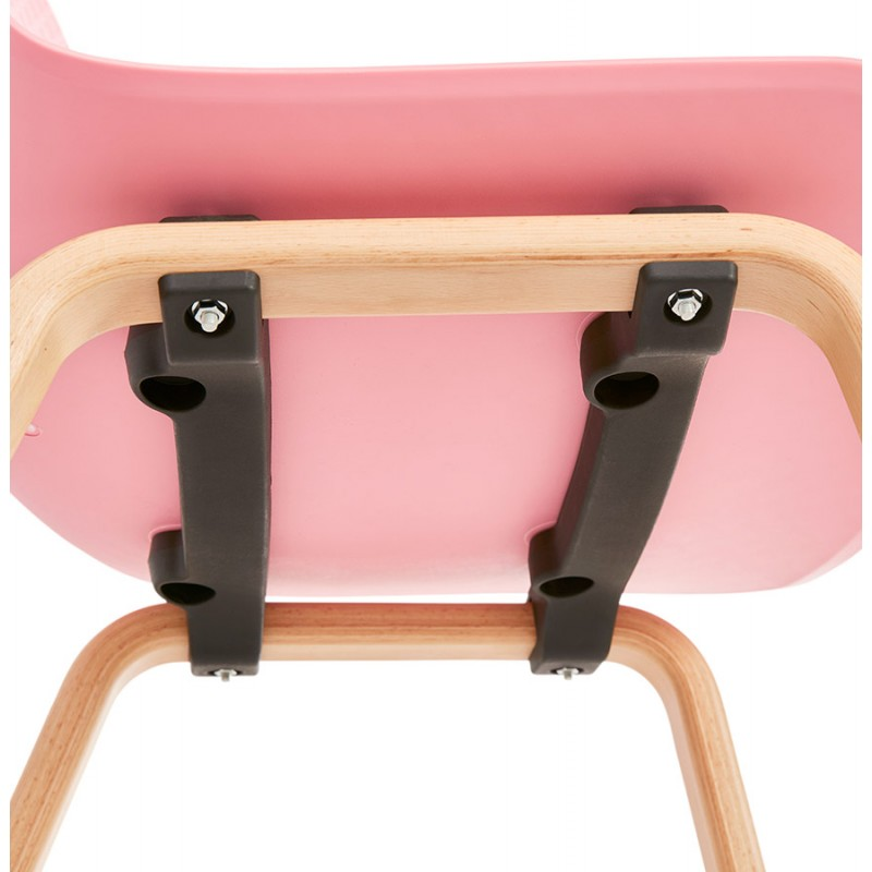 Chaise design scandinave pied bois finition naturelle SANDY (rose) - image 48033