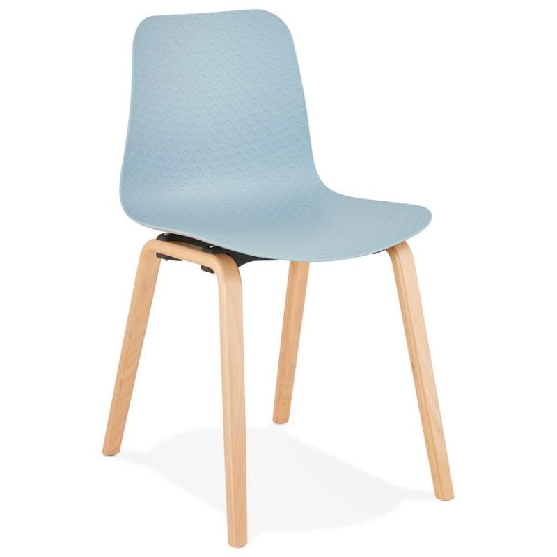 Chaise design scandinave pied bois finition naturelle SANDY (bleu ciel)