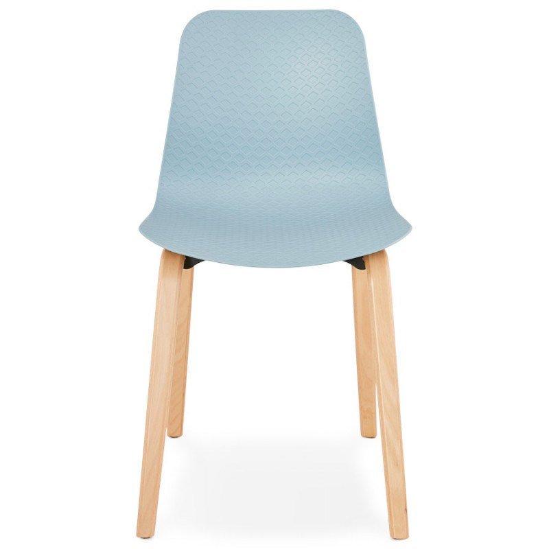 Chaise design scandinave pied bois finition naturelle SANDY (bleu ciel) - image 48039