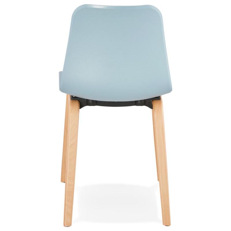 Chaise design scandinave pied bois finition naturelle SANDY (bleu ciel) - image 48042