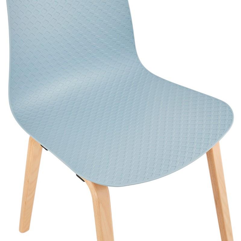 Chaise design scandinave pied bois finition naturelle SANDY (bleu ciel) - image 48044