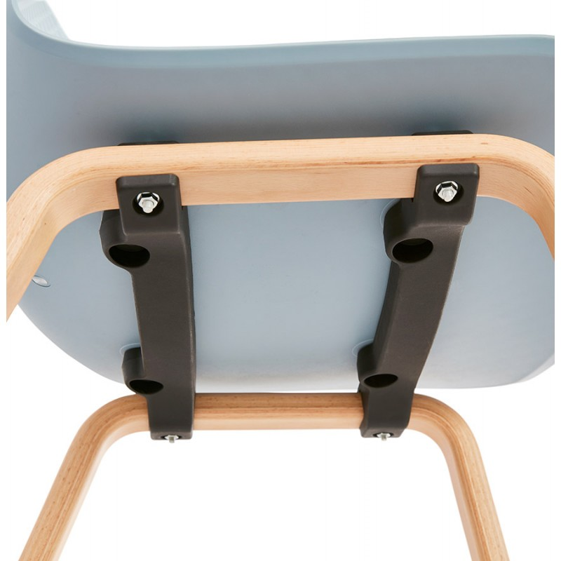 Chaise design scandinave pied bois finition naturelle SANDY (bleu ciel) - image 48048