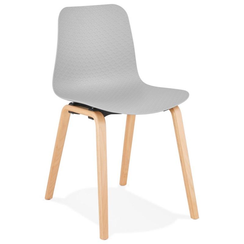 Chaise design scandinave pied bois finition naturelle SANDY (gris clair)
