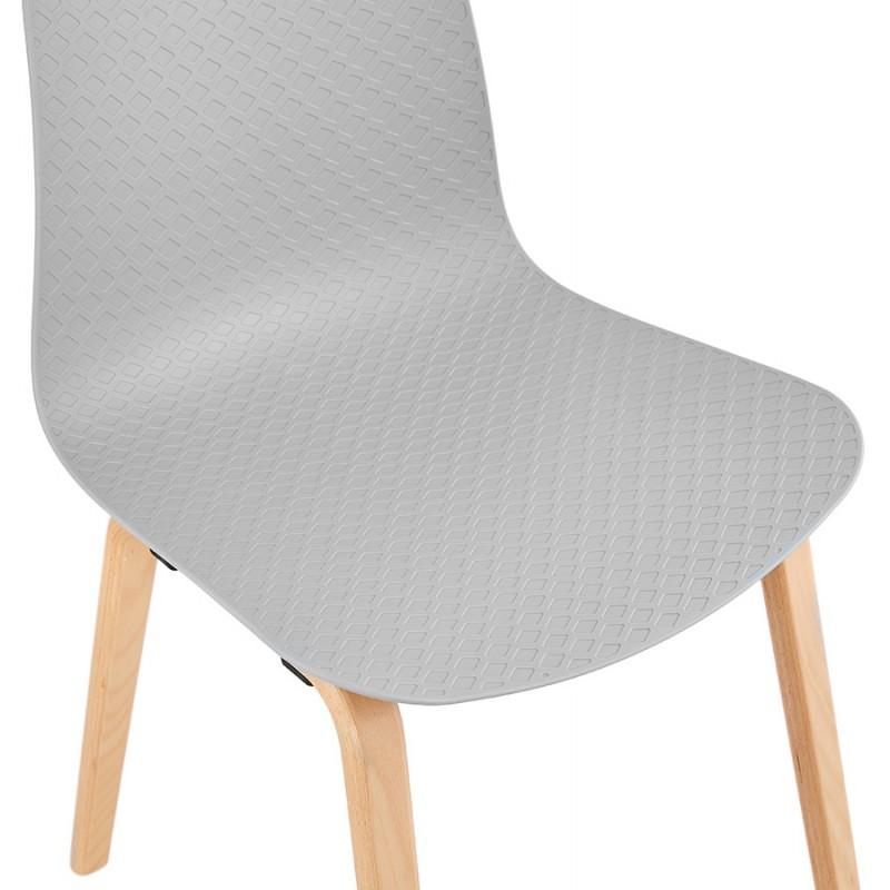 Stuhl Design skandinavischen Fuß Holz natürliche Oberfläche SANDY (hellgrau) - image 48059