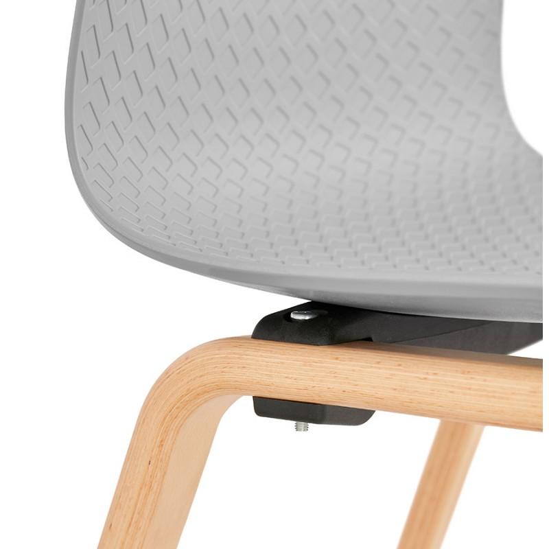 Stuhl Design skandinavischen Fuß Holz natürliche Oberfläche SANDY (hellgrau) - image 48062