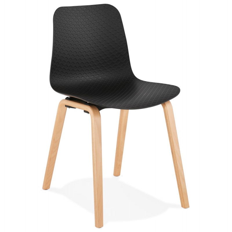 Chaise design scandinave pied bois finition naturelle SANDY (noir) - image 48068