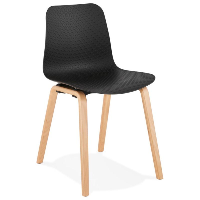Silla de diseño escandinavo pie de madera acabado natural SANDY (negro) - image 48068