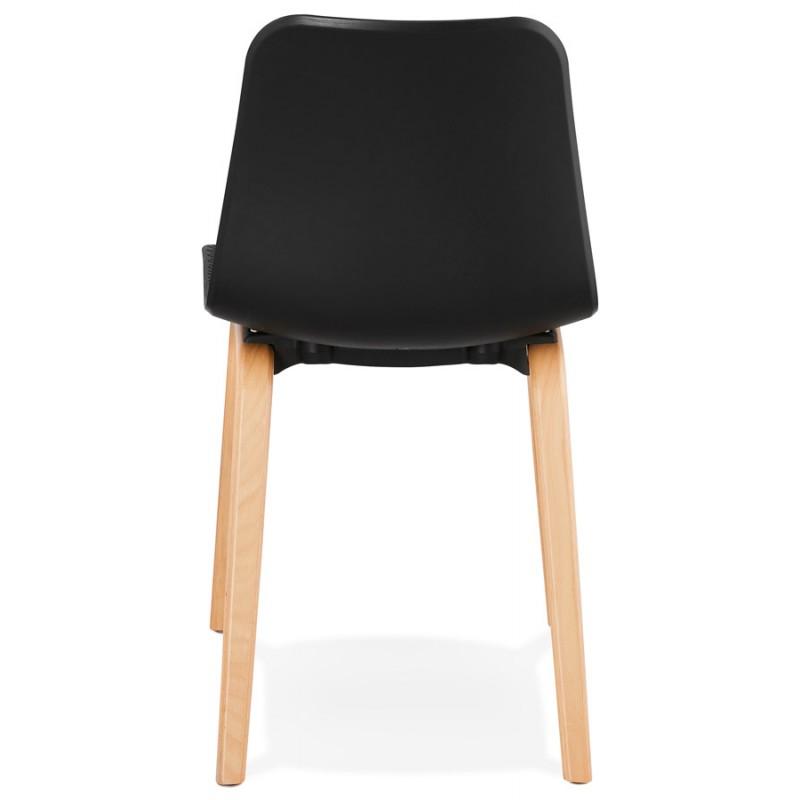 Silla de diseño escandinavo pie de madera acabado natural SANDY (negro) - image 48072