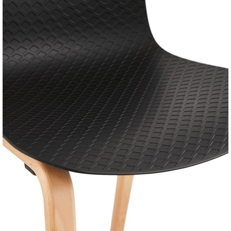 Silla de diseño escandinavo pie de madera acabado natural SANDY (negro) - image 48075