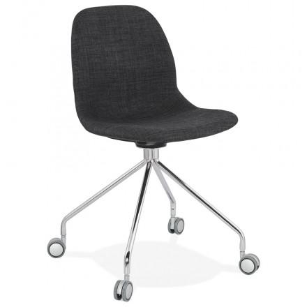 Chaise de bureau sur roulettes en tissu MARYA (gris anthracite)