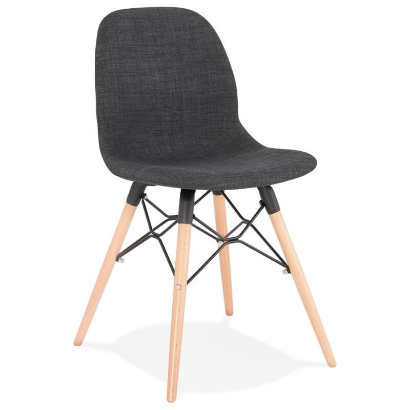 Chaise design et scandinave en tissu pieds bois finition naturelle et noir MASHA (gris anthracite)