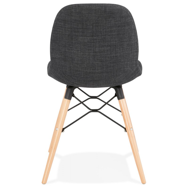 Design chair and Scandinavian fabric feet wood natural finish and black MASHA (anthracite grey) - image 48097