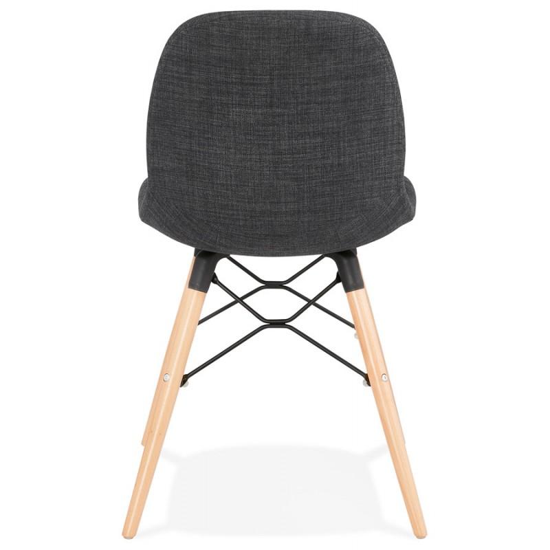 Chaise design et scandinave en tissu pieds bois finition naturelle et noir MASHA (gris anthracite) - image 48097