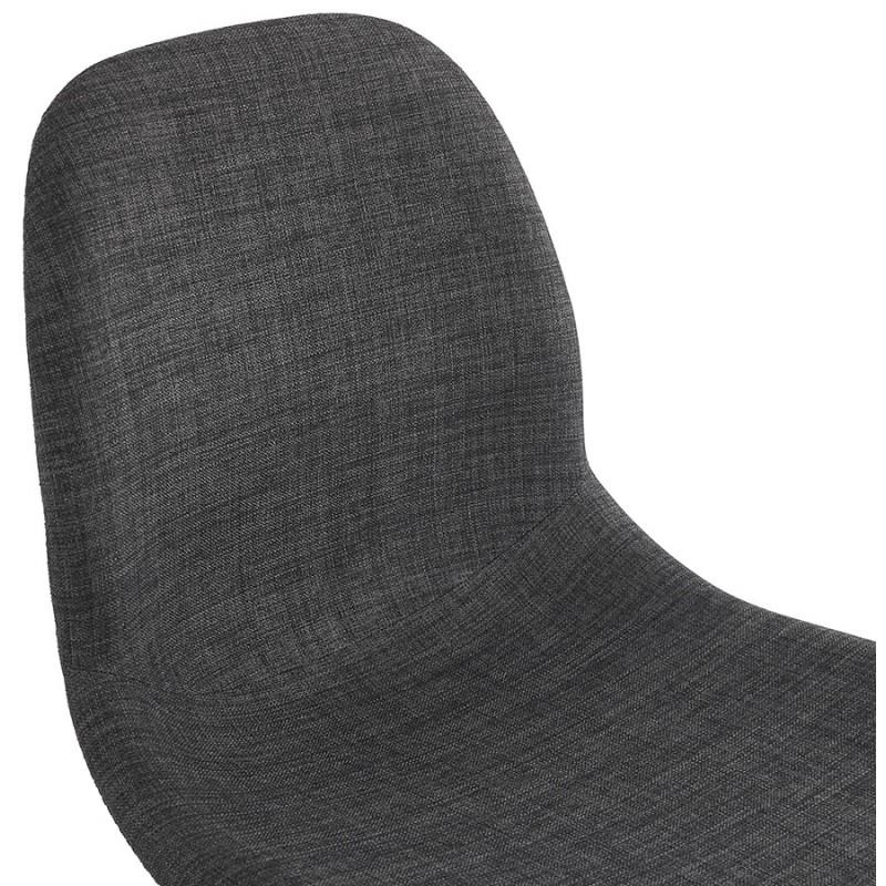 Chaise design et scandinave en tissu pieds bois finition naturelle et noir MASHA (gris anthracite) - image 48098