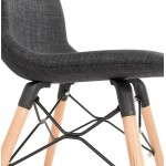 Design chair and Scandinavian fabric feet wood natural finish and black MASHA (anthracite grey)