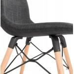 Silla de diseño y tejido escandinavo pies de madera acabado natural y MASHA negro (gris antracita)