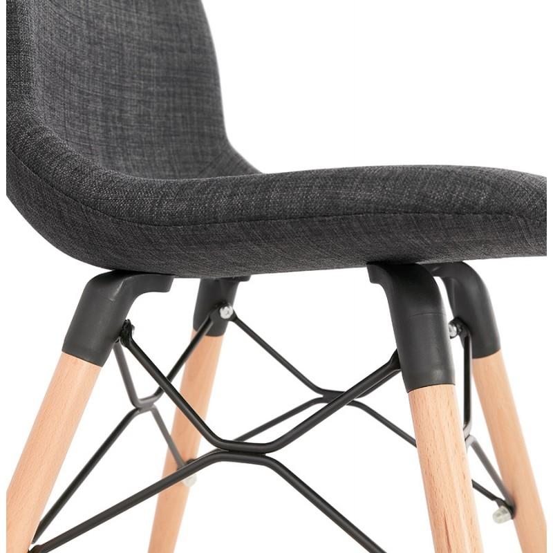 Chaise design et scandinave en tissu pieds bois finition naturelle et noir MASHA (gris anthracite) - image 48102