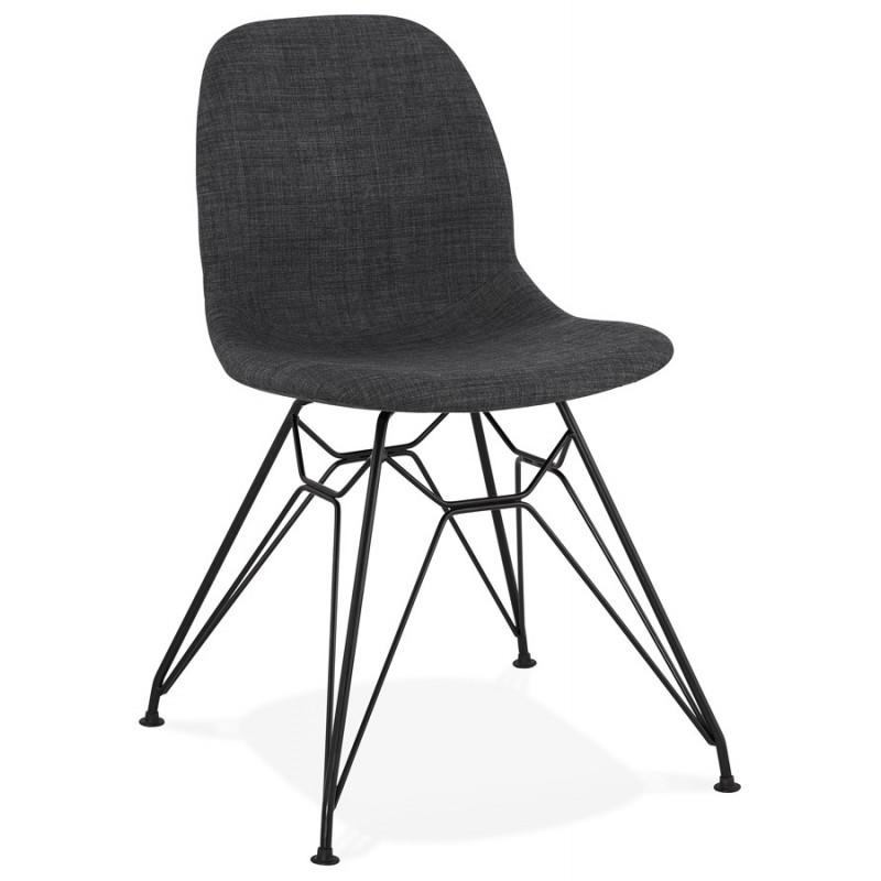 Silla de diseño de tela de pie de metal negro MOUNA (gris antracita)