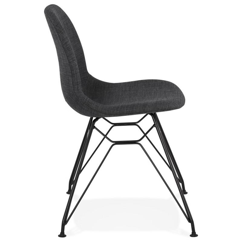 Silla de diseño de tela de pie de metal negro MOUNA (gris antracita) - image 48108