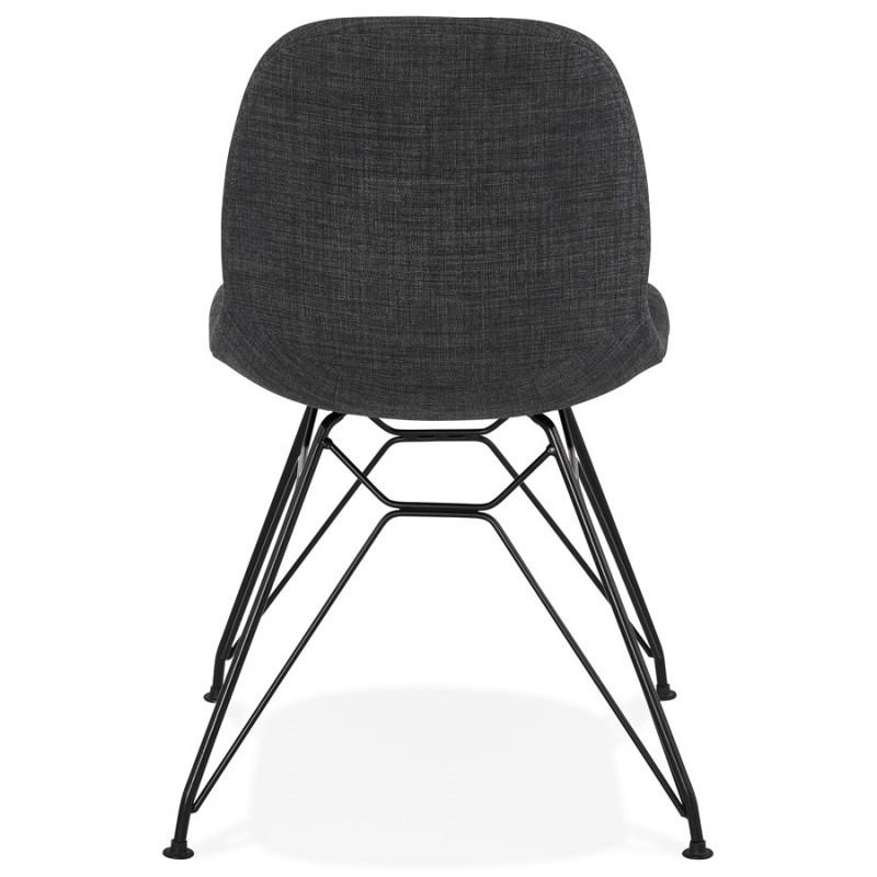 Silla de diseño de tela de pie de metal negro MOUNA (gris antracita) - image 48110