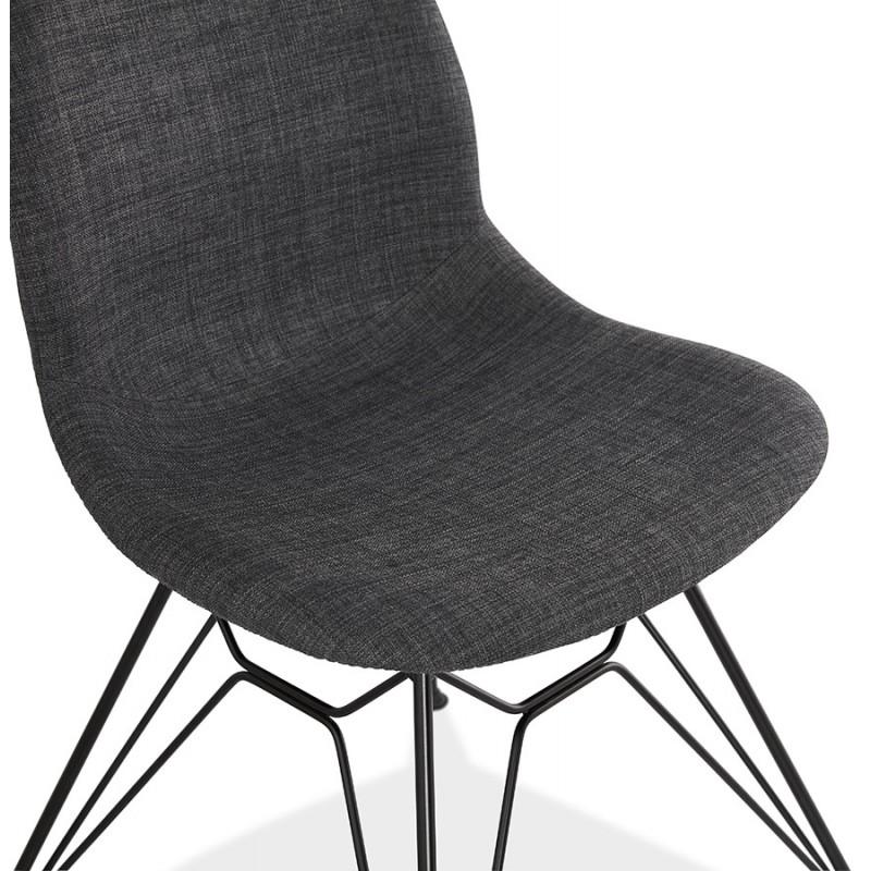 Silla de diseño de tela de pie de metal negro MOUNA (gris antracita) - image 48112