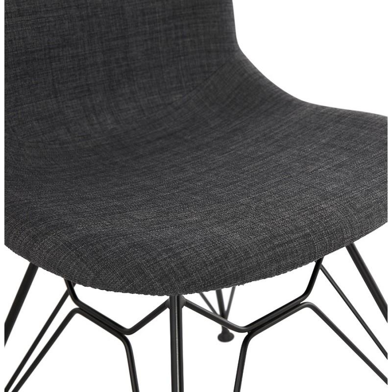 Silla de diseño de tela de pie de metal negro MOUNA (gris antracita) - image 48113