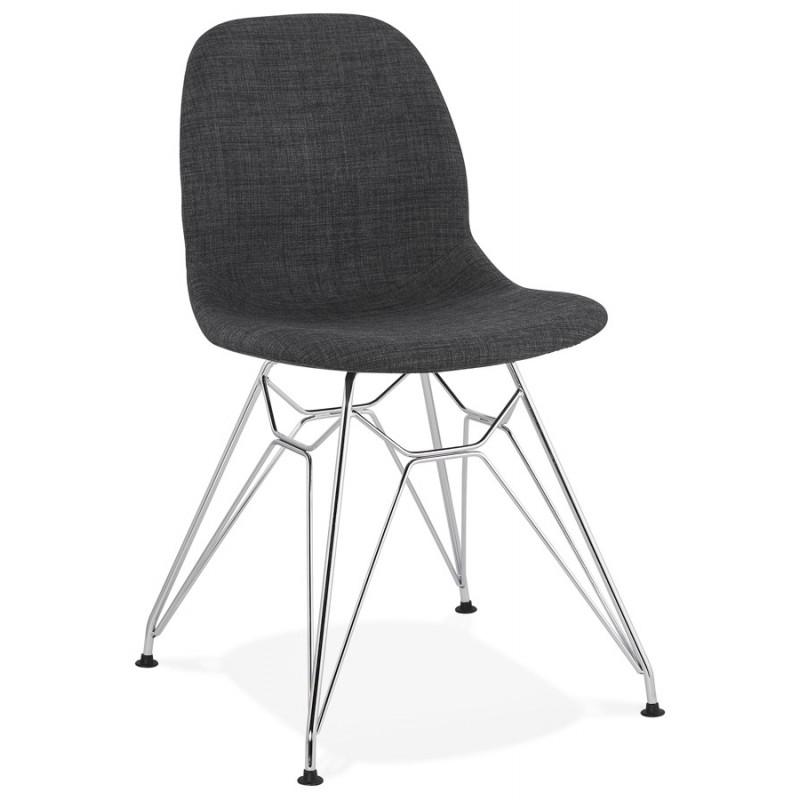 Chaise design industrielle en tissu pieds métal chromé MOUNA (gris anthracite) - image 48119