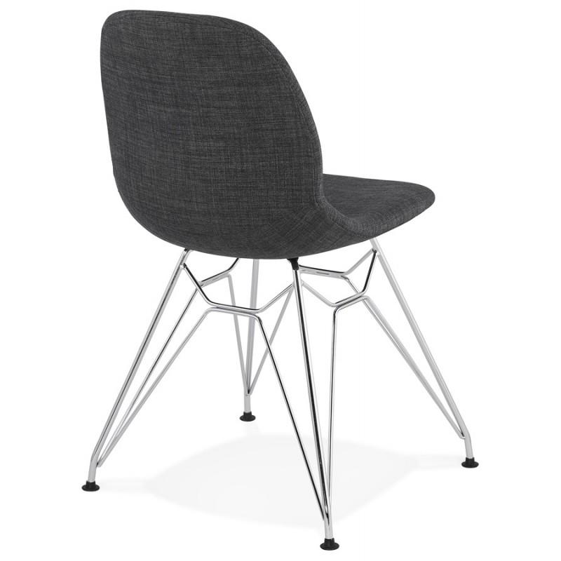 Chaise design industrielle en tissu pieds métal chromé MOUNA (gris anthracite) - image 48122