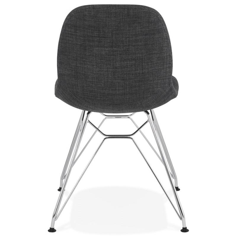 Chaise design industrielle en tissu pieds métal chromé MOUNA (gris anthracite) - image 48123