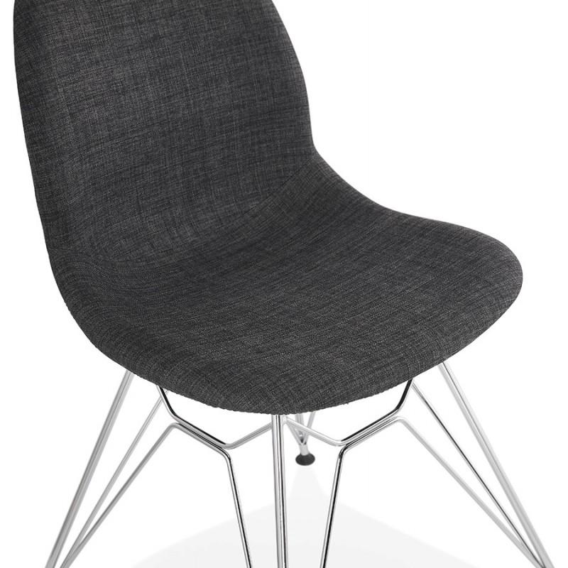 Chaise design industrielle en tissu pieds métal chromé MOUNA (gris anthracite) - image 48125