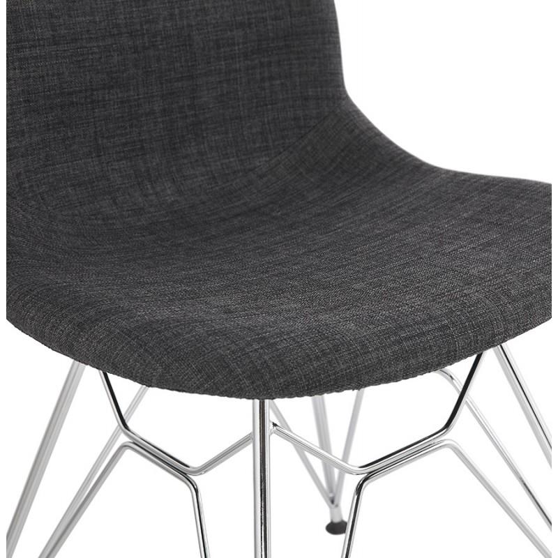 Chaise design industrielle en tissu pieds métal chromé MOUNA (gris anthracite) - image 48126