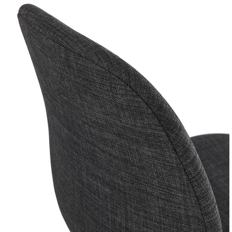 Chaise design industrielle en tissu pieds métal chromé MOUNA (gris anthracite) - image 48127