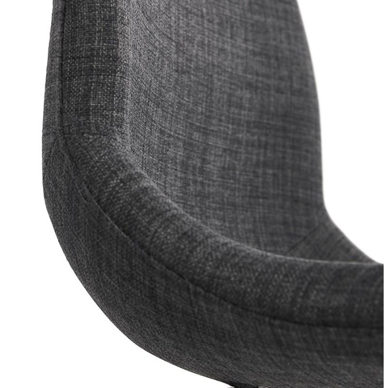 Chaise design industrielle en tissu pieds métal chromé MOUNA (gris anthracite) - image 48128