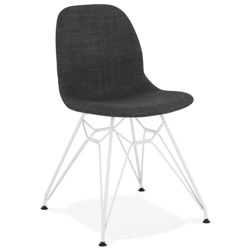 Chaise design industrielle en tissu pieds métal blanc MOUNA (gris anthracite) - image 48132