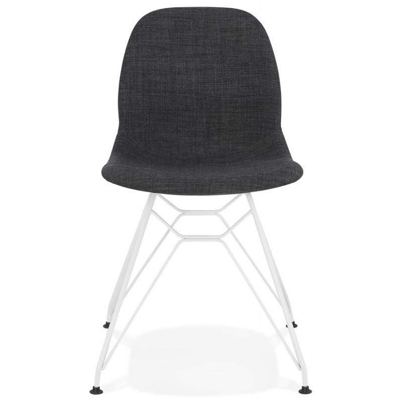 Chaise design industrielle en tissu pieds métal blanc MOUNA (gris anthracite) - image 48133