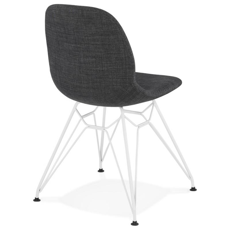 Chaise design industrielle en tissu pieds métal blanc MOUNA (gris anthracite) - image 48135